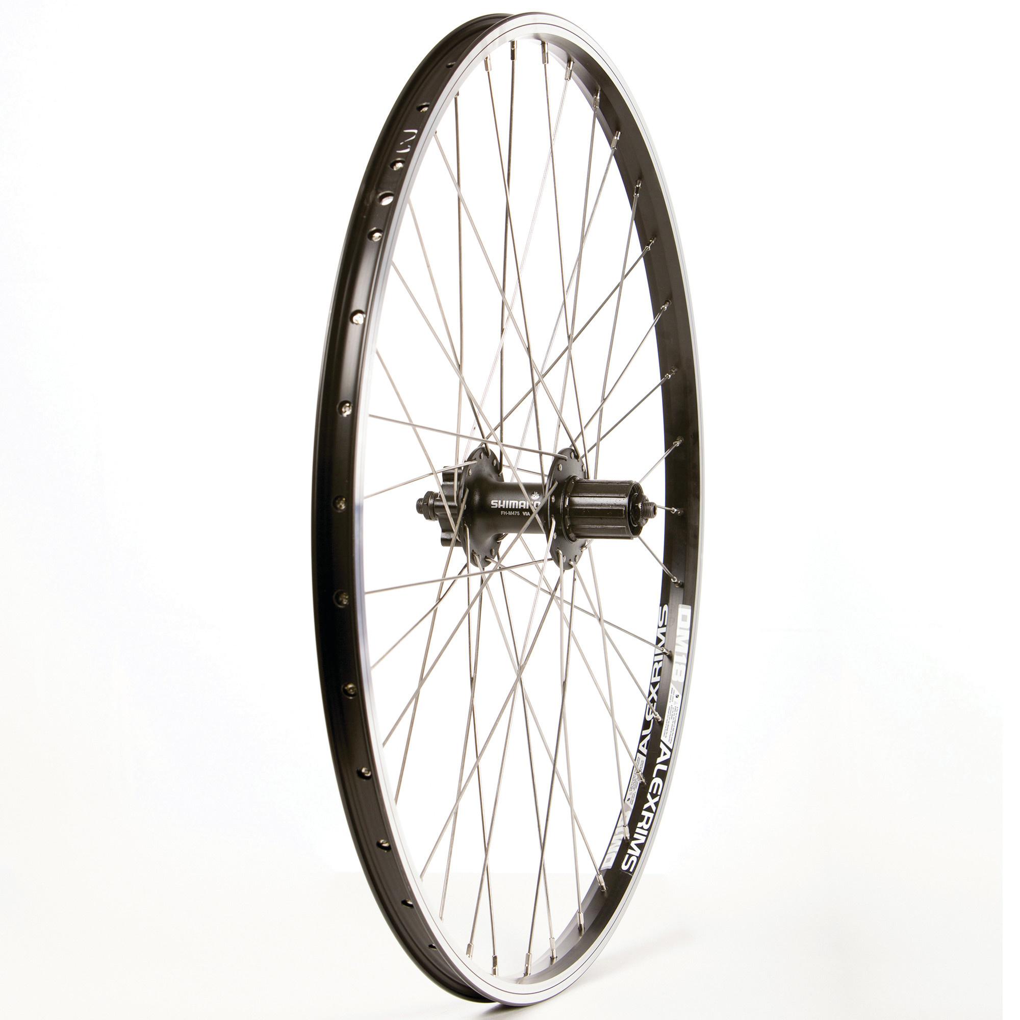 "WHEEL SHOP Wheel Shp, Rear 26"" Wheel, 36H Black Ally Duble Wall Alex DM-18/ Black Shiman FH-M475 QR 8-10spd 6 Blt Disc Hub, Stainless Spkes"