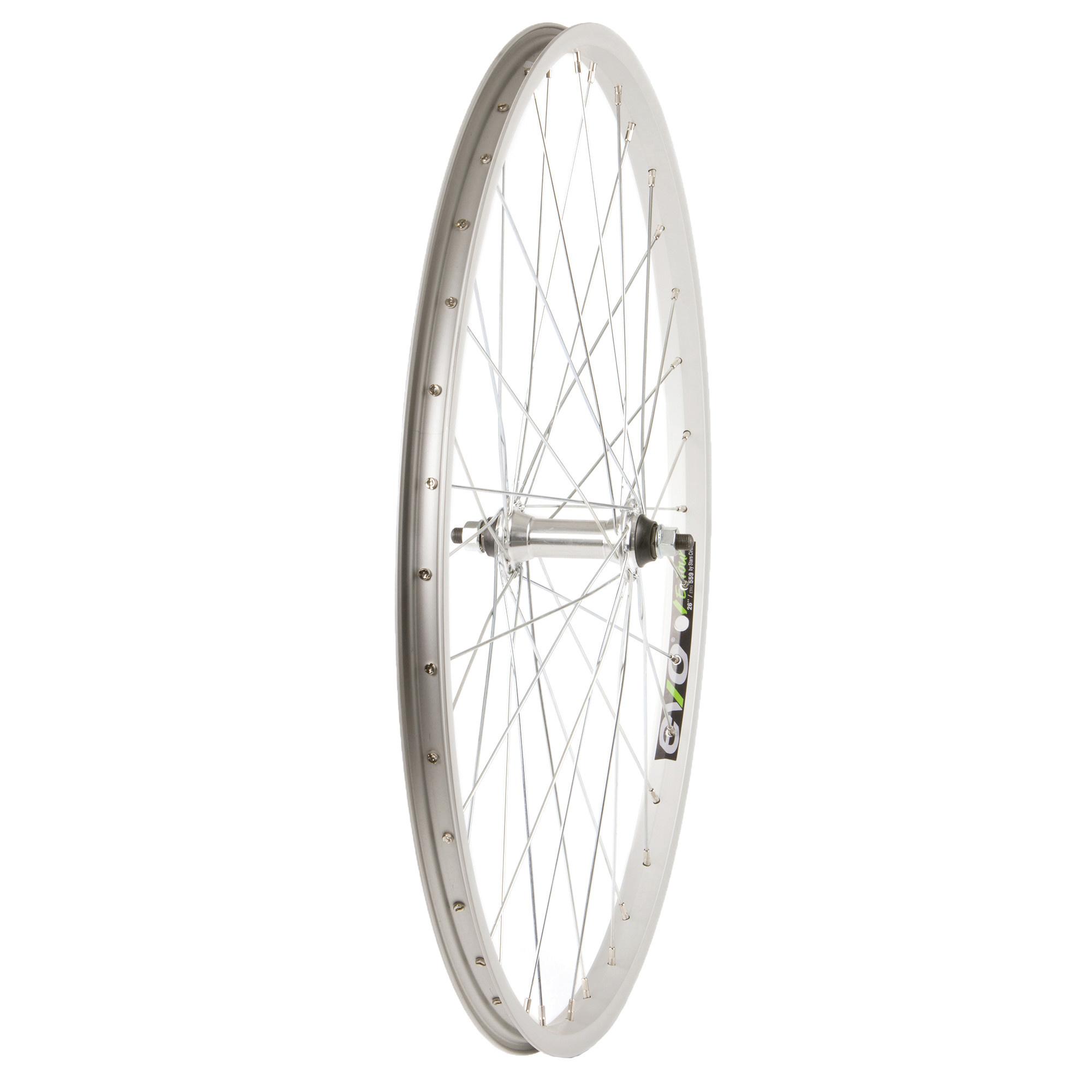 "WHEEL SHOP Wheel Shp, Frnt 26"" Wheel, 36H Silver Ally Single Wall Ev E Tur 20/ Silver Frmula FM-21 Nutted Axle Hub, Steel Spkes"