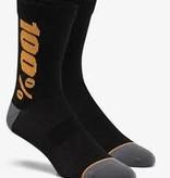 100% SP20 - RYTHYM Merino Wool Performance Socks Black/Bronze - LG/XL