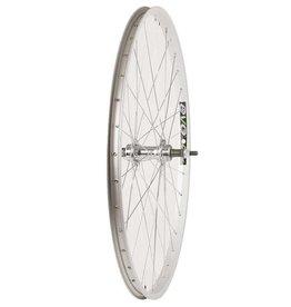 """Wheel Shp, Rear 26"""" Wheel, 36H Silver Ally Single Wall Ev E Tur 20/ Silver Jytech JY-434 Nutted Axle FW Hub, Steel Spkes"""