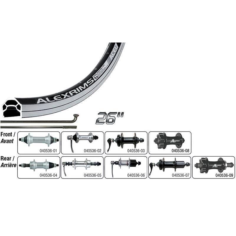 Handbuilt Wheels REAR 26'' ALEX ACE-17 WHEEL, Black/ DC-22 Black, 36 Steel Spokes, QR axle, ISO 6 Bolts Disc 8/9/10 Sp Cassette