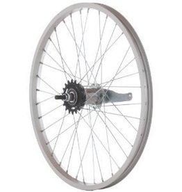 Handbuilt Wheels Rear 700cx35 Wheel Alloy Silver, Nutted axle, Coaster Brake, DW