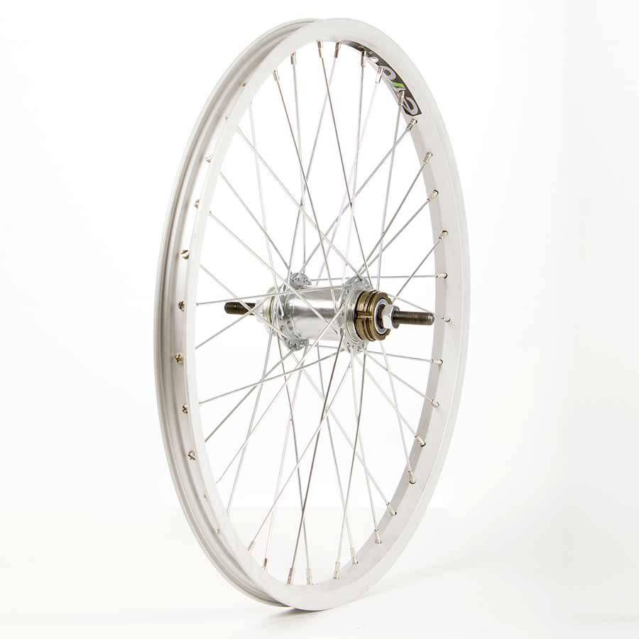 "WHEEL SHOP Wheel Shop, Rear 20"" Wheel, 36H Silver Alloy Single Wall Evo E Tour 20/ Silver Shimano CB-E110 Nutted Axle Coater Brake Hub, Steel Spokes"