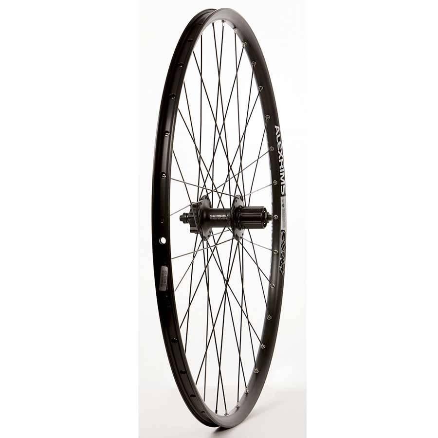 "WHEEL SHOP Wheel Shp, Rear 29"" Wheel, 32H Black Ally Duble Wall Alex SX-44 Disc/ Black Shiman FH-M525 QR 8-10spd 6 Blt Disc Hub, DT Black Stainless Spkes"