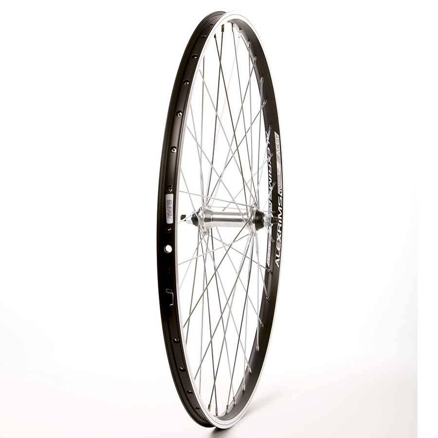 Handbuilt Wheels Front, 26'', Wheel, Alex ACE-17, Black, FM-21Silver, 36 Steel Spokes, Bolt-on axle