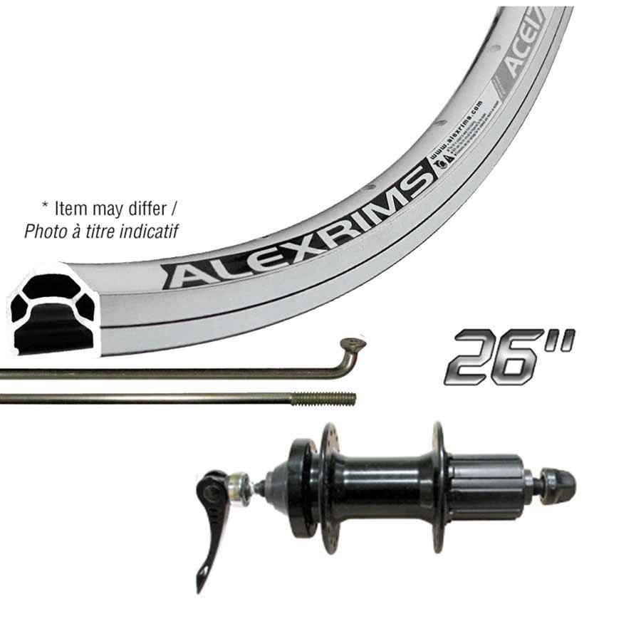 Handbuilt Wheels REAR, 26'', Wheel, Alex ACE-17 Silver/ DC-22 Black, 36 Steel Spokes, QR axle, ISO 6 Bolts Disc 8/9/10 Sp Cassette
