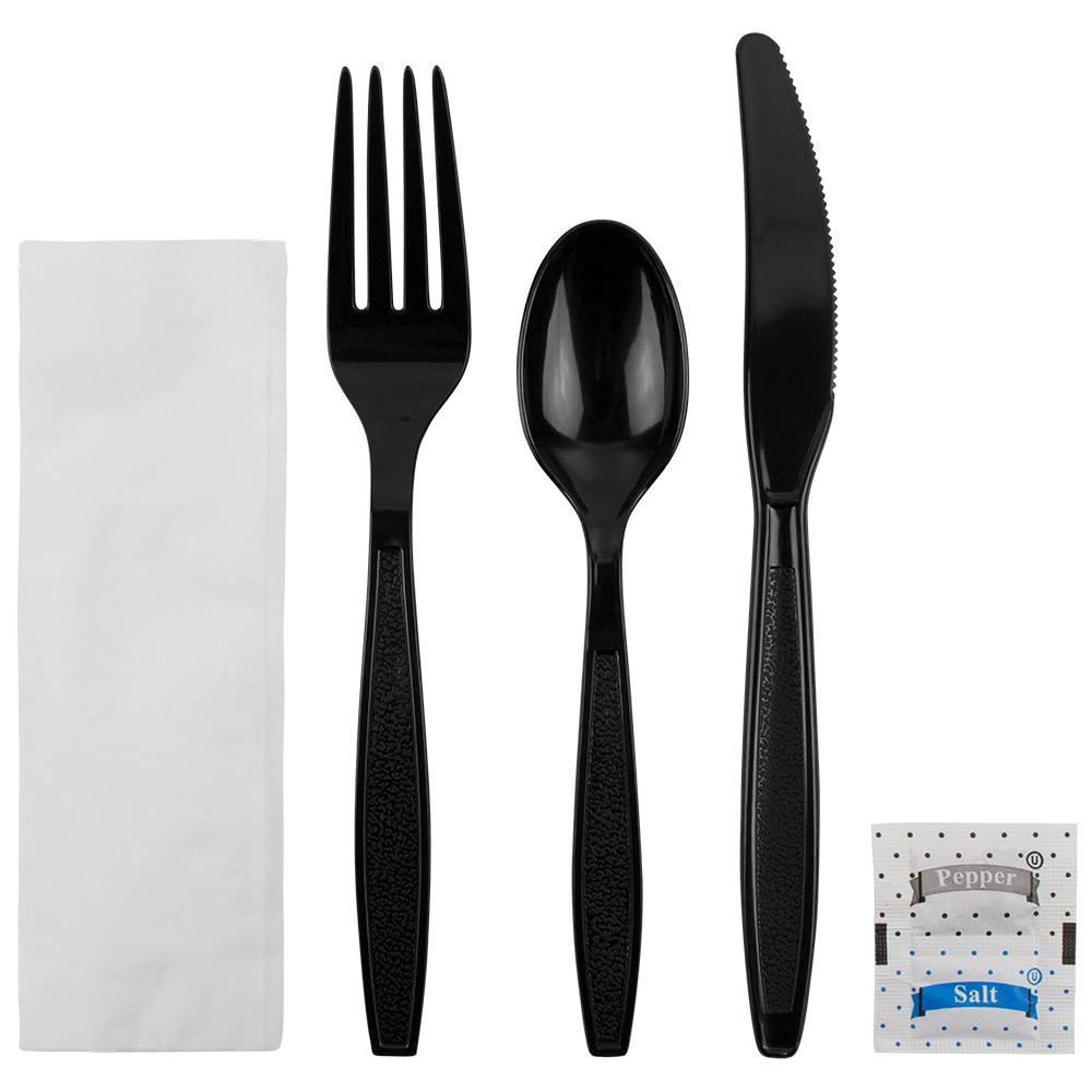 PRIME SOURCE Cutlery Kit, P/S Black Med. Wt. K/F/TS/S&P/Napkin 250ct.