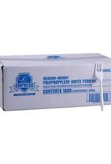 Empress Forks, Empress White Unwrapped Plastic Med. Wt.  1000ct.