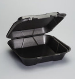"Genpak Hinged Cont,  9"" Genpak 1-Comp Black Foam 200ct. Case"