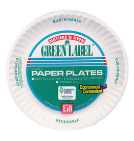 """AJM Plates, 9"""" Green Label  Uncoated White Paper 100ct. Sleeve"""