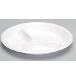 "Genpak Plates, 10.25"" Genpak 3-Comp. White Foam (81300) 135ct. Sleeve"