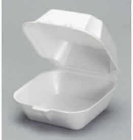 "Genpak Hinged Cont, 6"" Genpak White Foam (22500) 500ct. Case"