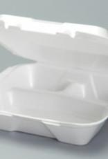 "Genpak Hinged Cont,  9"" Genpak 3-Comp White Foam SN203 200ct. Case"