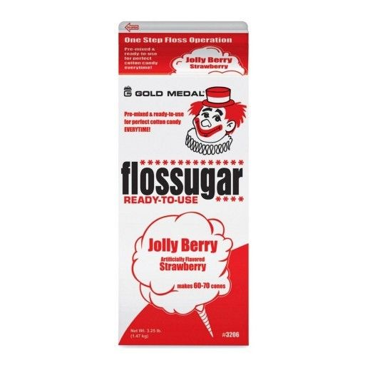 Gold Medal Products Co Floss Sugar, Jolly-Berry Strawberry Cotton Candy Mix 3.25lb. Each