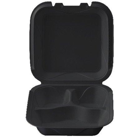 "Darnel Hinged Cont, 8"" 3-Compartment Black (Q-3) 200ct. Case"