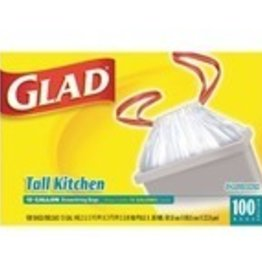Glad Can Liner, 13 Gal. Glad w/Drawstring 100ct. Box