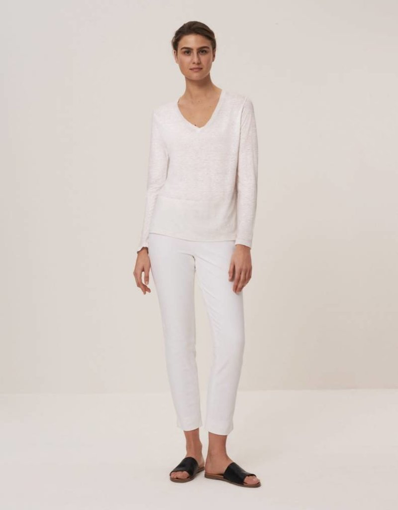 Winser London WL-Pure Linen V-Neck Long Sleeve