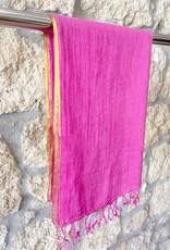 Flats Linen Scarf w/ Gold Edge Fuschia