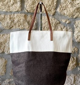 Alex Max Two Tone Metallic Tote Coffee