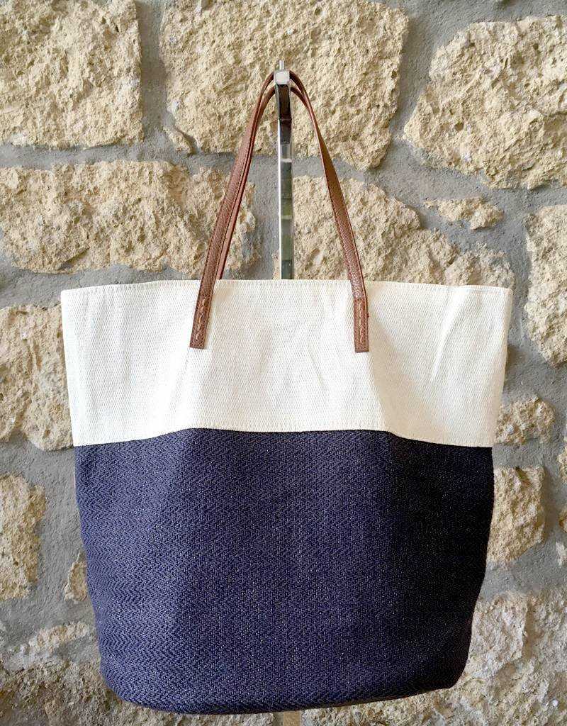 Alex Max Two Tone Metallic Tote Navy
