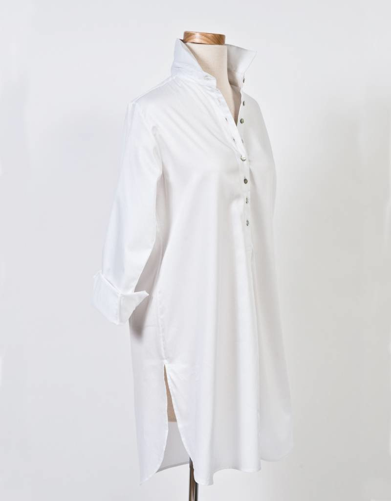 Flats Swiss Shirt- Cotton Sateen-White