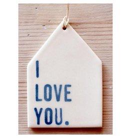 MB Art Studios I Love You Blue Tag