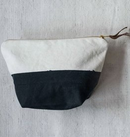 Creative Co-op Cotton Zip Pouch, Black & White