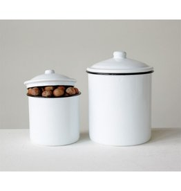 Creative Co-op Enamel Canister, Lg