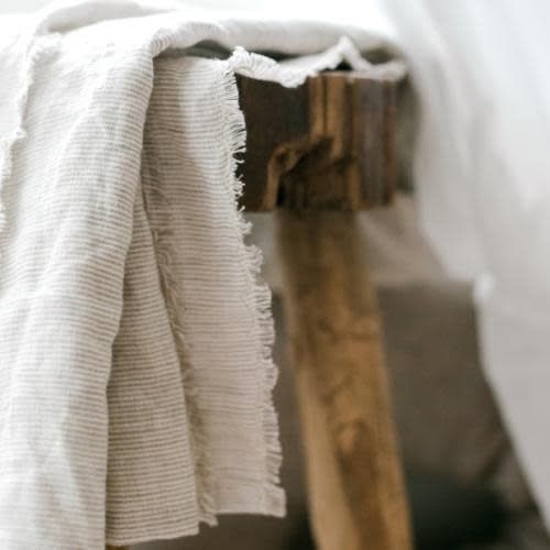 Madly Wish Striped Linen Throw