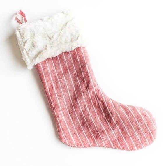 Madly Wish Crimson Stripe Stocking