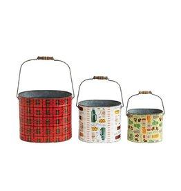 Creative Co-op Holiday Tin Bucket, Sm