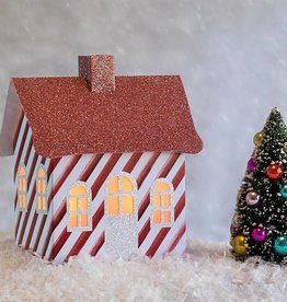 Dimensional Paperworks Candy Cane Stripe House
