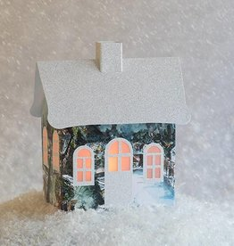 Dimensional Paperworks Watercolor House w/ Snow Scene