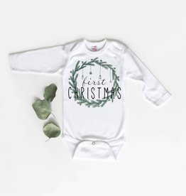 Little Fruit Tree First Christmas Green Onesie, 0-3 mo.