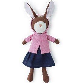 Hazel Village Zoe Rabbit in Navy Linen Dress/Pink Jacket
