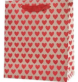 Waste Not Paper Red Glitter Hearts Bag