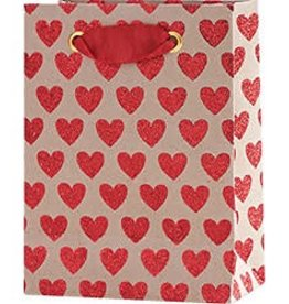 Waste Not Paper Red Hearts on Kraft Bag