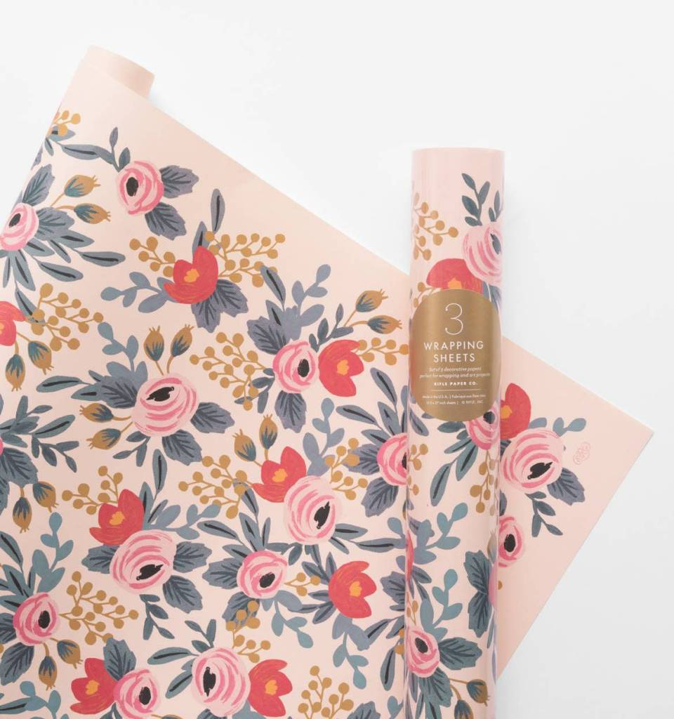 Rifle Paper Blushing Rosa Wrap, Roll