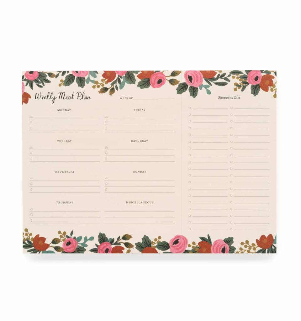 Rifle Paper Rosa Meal Planner Notepad