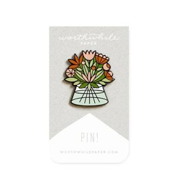 Worthwhile Paper Flowers Bouquet Enamel Pin