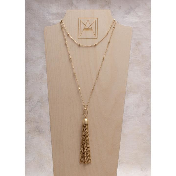 Amy Margaret Jimi Metal Tassel Chain Necklace, Gold