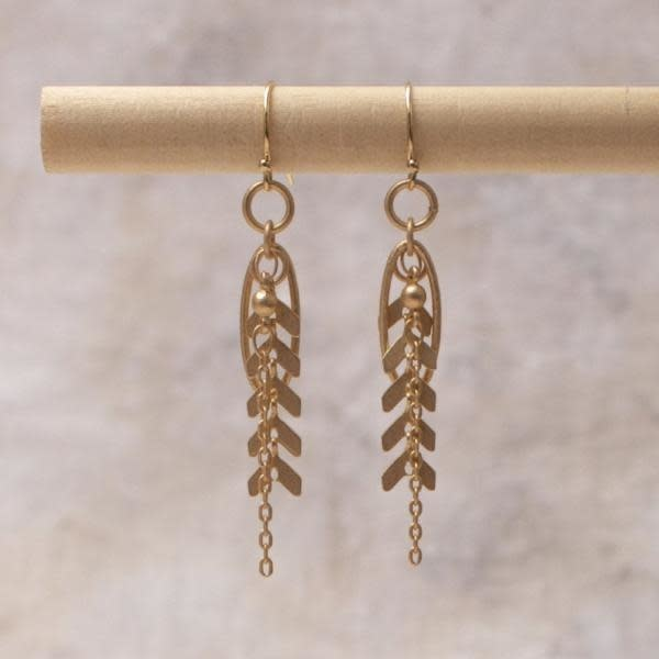 Amy Margaret Harper Chevron Chain Earrings, Gold