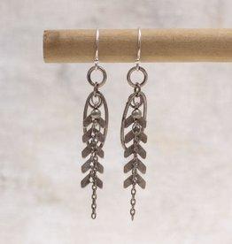 Amy Margaret Harper Chevron Chain Earrings, Silver