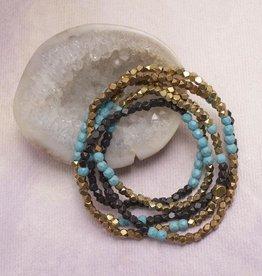 Amy Margaret Turquoise Hex & Stone Bracelets