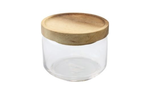 BE Home Glass Container w/Acacia Lid, Sm