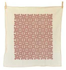 June & December Woodblock Nettles Towel - Red