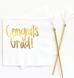 When It Rains Congrats Grad Napkins, White