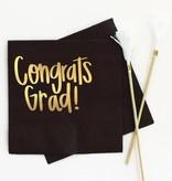 When It Rains Congrats Grad Napkins, Black