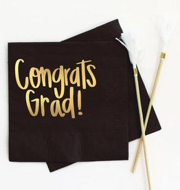 When It Rains Congrats Grad Napkins, Black