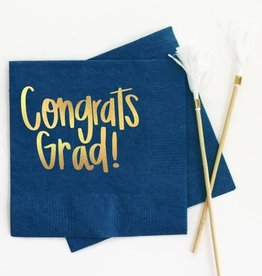 When It Rains Congrats Grad Napkins, Navy